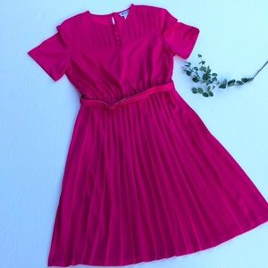 Blair Vintage Pleated Belted Pink Dress Size 14 Petite